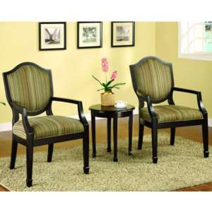 Solid Wood Espresso Finish 3  Piece Accent Chair & Table Furniture Set