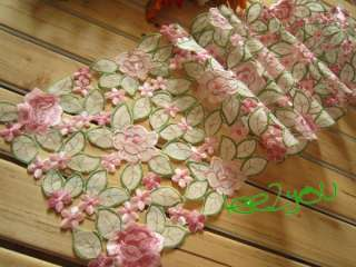 Stunning Pink Roses Cutwork Embroidered Table Runner 11x67