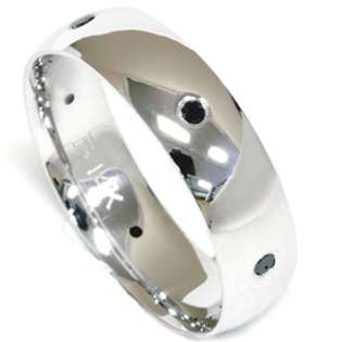 Mens 14k White Gold Black Diamond Wedding Ring Band New  Pompeii3 Inc