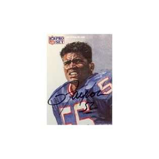 Lawrence Taylor, New York Giants, 1991 Pro Set Autographed Card  Pro