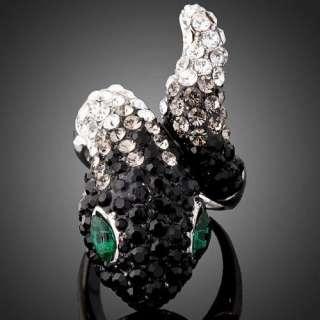 ARINNA Swarovski Crystal green eye snake finger Rings