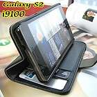S2 SII i9100 /LEATHER ID CARD CASH WALLET BOOK CASE COVER BLACK