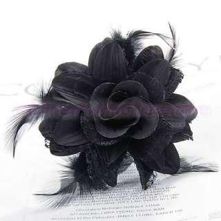 Women Bridal Boutique Flower Feather Hair Pin Brooch Bracelet 6 Colors