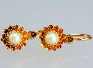 18 ct gold pearl & garnet earrings.Victorian drop earrings.