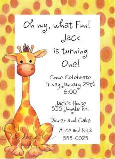 Cute Giraffe Baby Shower or Birthday Party Invitations