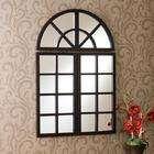 Harmony Distressed Black Windowpane Mirror