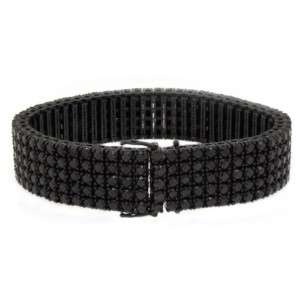 Black Diamond Link Bracelet Brilliant Round Cut 10KT Gold 54.58 Carats