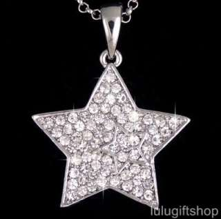 18k white gold plated star pendant necklace use swarovski crystals