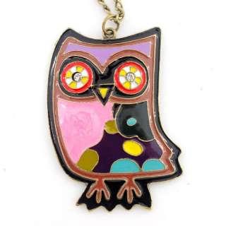 CUTE Gold tone Enamel Owl Baby Plate Pendant Necklace