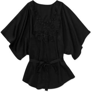 Collection Womens Plus Size Knit Belted Tunic Top With Floral Applique