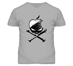 Apple Skull and Cross Bones Cool Graphics T Shirt