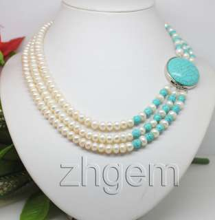 natural white pearl Turquoise necklace 17long