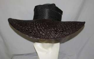 Ralph Lauren Straw / Silk Polka Dot Large Brim Hat