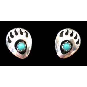 Small Southwestern Native American Handcrafted Bear Paw Post Earrings