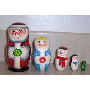 Santa, Snow maiden, Snow man, Penguin, Christmas tree