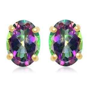 Gold, June Birthstone, Mystic Topaz 7mm x 5mm Oval Earrings Jewelry