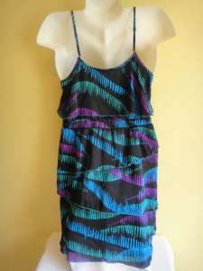 2b Bebe Liquid Wave Tiered Neon Black Blue Purple Green Tank Top Dress
