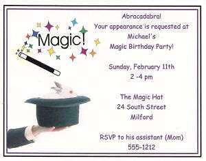 10 Magic Birthday Party Invitations Personalized