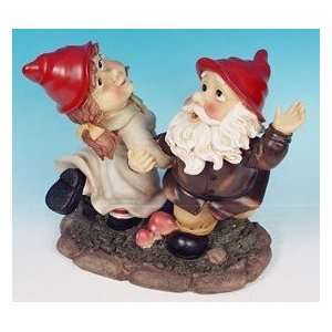 Mr + Mrs Dancing Garden Gnome Large Statue Patio, Lawn