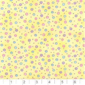 45 Wide Flannel Teddy Bear Dots Baby Yellow Fabric By