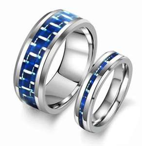 New Matching Couple Tungsten Carbide Ring Set Wedding Bands Blue