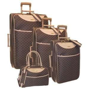 19004RX Signature Series 4 Piece Expandable Luggage Set Color: Brown