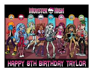 Monster High edible party cake topper cake image sheet