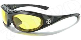 New Mens CHOPPERS Padded Motorcycle Goggles Sunglasses Orange Black