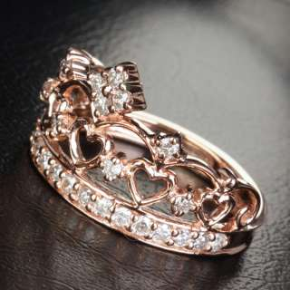 .57CT H/SI DIAMOND Solid 14K ROSE GOLD ENGAGEMENT Wedding Band RING