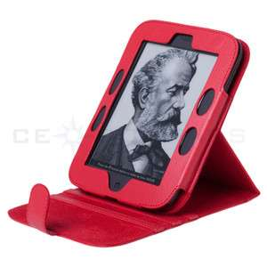 Noble Nook 2 Simple Touch 2nd Edition Red Leather Case Cover Stand