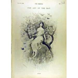 1896 Spring Sketch Lady Tree Garden Birds Fine Art