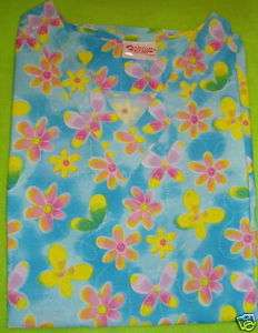 NURSES UNIFORM SCRUB TOP BUTTERFLY FLUTTER XS X SMALL NEW