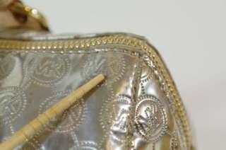 Michael Kors Grayson Pale Gold Mirror Monogram Metallic Large Satchel