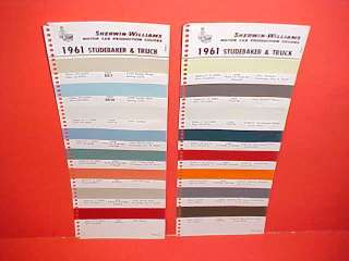 1961 STUDEBAKER LARK HAWK TRUCK PAINT CHIPS COLOR CHART