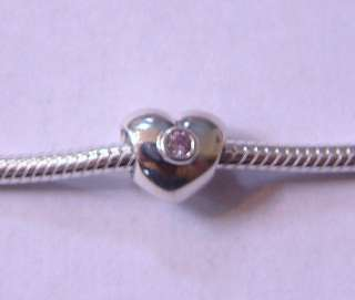 AUTHENTIC PANDORA STERLING SILVER PINK CZ HEART BEAD 790134 790134PCZ
