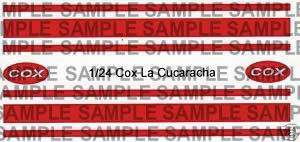 Repro 1/24 Cox La Cucuracha Peel N Stick Decal Set