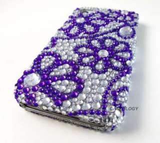 PURPLE SILVER FLOWER DIAMOND HARD CASE COVER APPLE IPHONE 4 4s PHONE