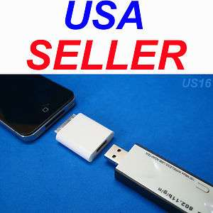 iPOD iPHONE PAD TOUCH USB AUX ADAPTER FOR WiFi WIRELESS THUMB STICK US