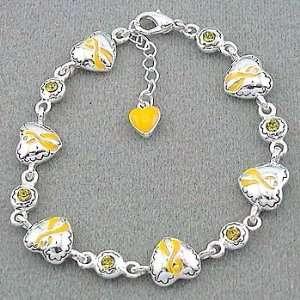 Yellow Ribbon/Heart Charms Awareness Bracelet Everything