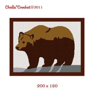 Grizzly Brown Bear Easy Afghan Crochet Pattern Graph