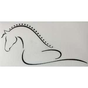 Sm Black Line Art Flowing Braided Mane Horse Vinyl Car Decal Sticker
