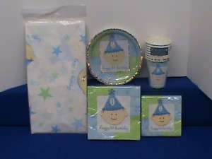 1ST FIRST BIRTHDAY PARTY SET / SUPPLIES TABLECOVER PLATES NAPKINS CUPS