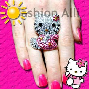 XL PINK BLING CRYSTAL MS. HELLO KITTY ADJ. RING♡♡