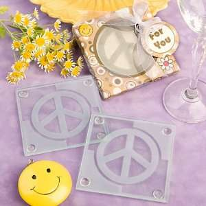 Peace sign design glass coaster set favors (Set of 6)
