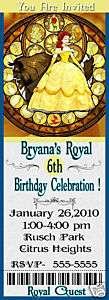 BELLE Beauty Beast PRINCESS BIRTHDAY INVITATIONS Party