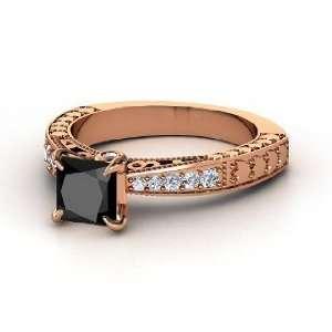 Megan Ring, Princess Black Diamond 14K Rose Gold Ring with