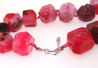 Charm Big Faceted Red Agate 25mm Gemstone Bead Necklace