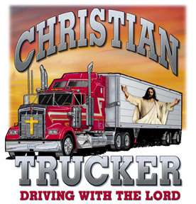 CHRISTIAN T SHIRT JESUS CHRIST TRUCKER DRIVING LORD TRUCK SIDE