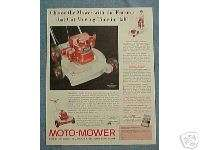 1958 MOTO MOWER LAWN MOWER AD   THE RIVIERA