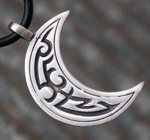 Tribal Crescent Moon Pewter Pendant W Black Necklace